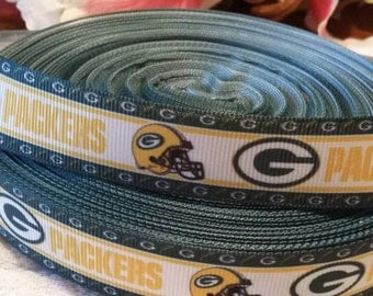 3 yards 7/8' Green bay packers inspired grosgrain ribbon