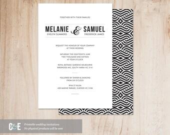 Minimalist Design - Printable Wedding Invitation PDF
