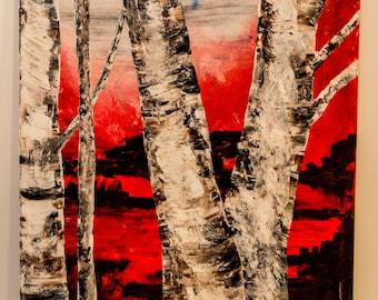 Modern contemporary abstract painting, Birch - ORIGINAL