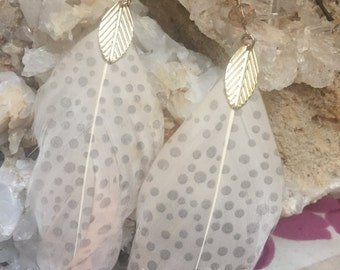 White dotted feather earrings
