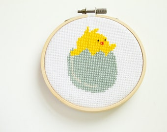 Chick and Egg Cross Stitch, Hoop Art