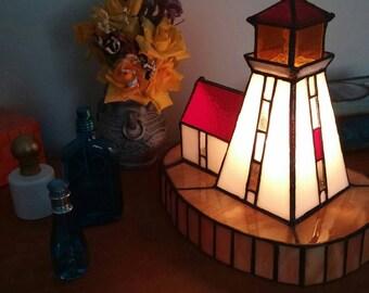 Stained Glass Light.Lighthouse Lamp.Night light.Brebeuf Island.Georgian Bay.Table Lamp.Original design.