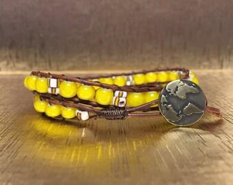Yellow Two Wrap Bracelet
