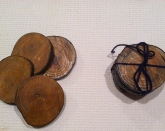 Set of 4 reclaimed branch Wood Coasters, natural and sealed