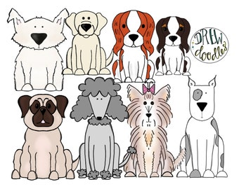 Dogs Digital Clip Art Set- Instant Download