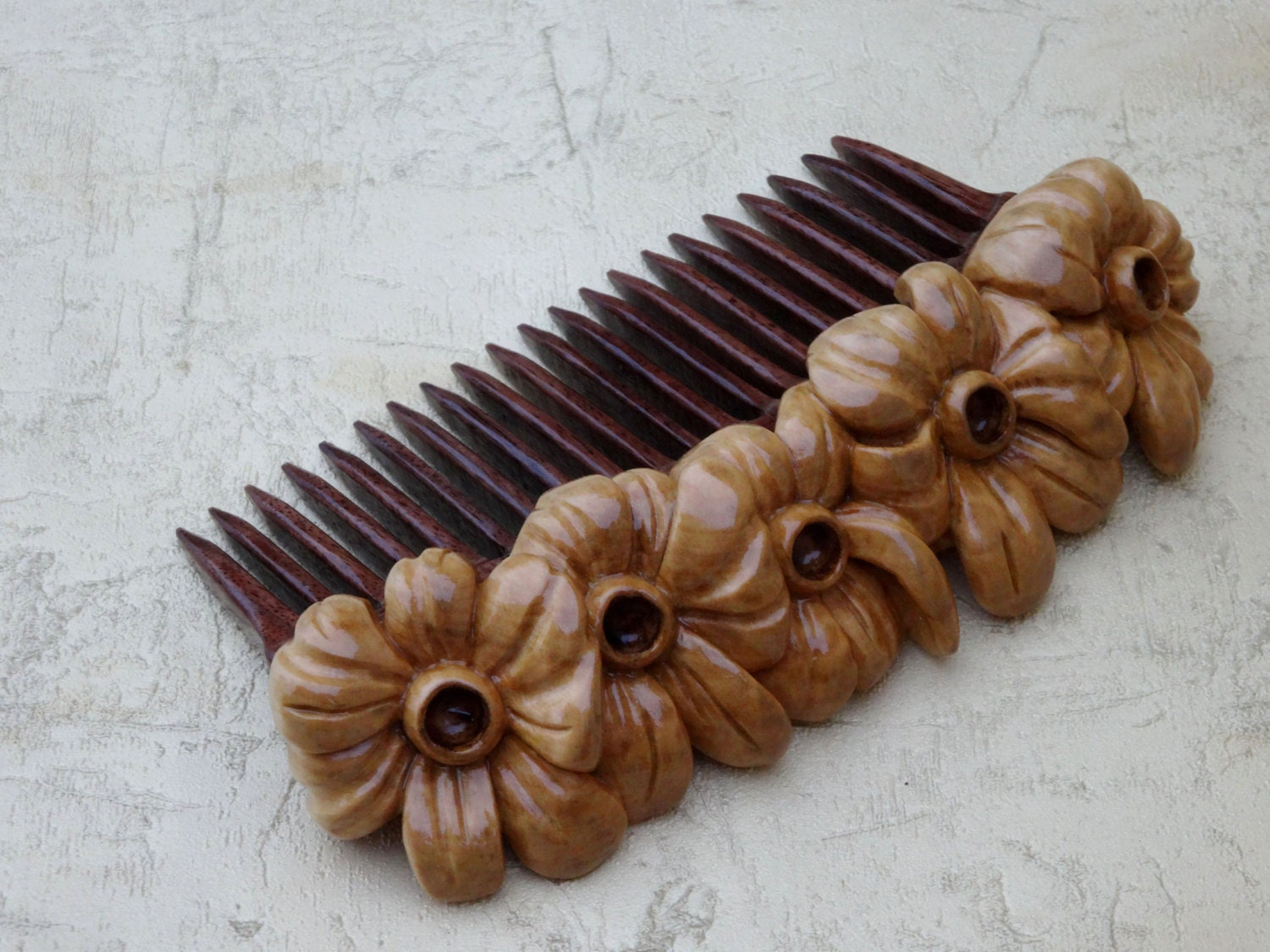 Wooden comb hair accessories of wood carving