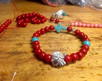 Bracelet coral & turquoise corsica