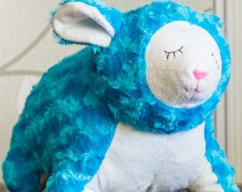 Blue plush sheep toy, plush lamb, soft toy handmade, little lamb, soft sheep, animal toy, stuffed sheep