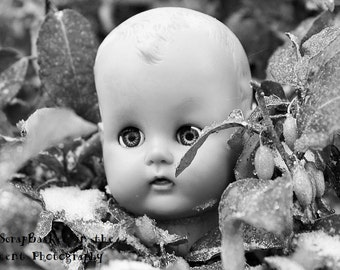 Doll Head Photography-Creepy Doll Heads-Fine Art Photo Print-Doll in the Bush-Orignial Photography