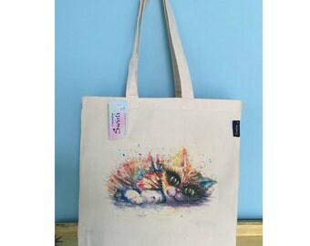 Large Tote Bag ' Comfy Kitten ' Print By Sophie Appleton Watercolour Artist , Shopping Bag , Beach Bag