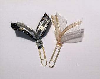 """Decorative paper clips, """"Black and Gold"""", set of 2.  Glam up your planner or work area."""
