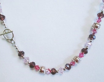 Berry Pink Purple Crystal Pearl Beaded Necklace