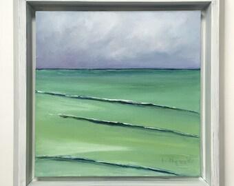 Great Lakes oil painting, lake michigan art, maritime art, seascape, water scene, lake house decor, beach house art, cottage chic art