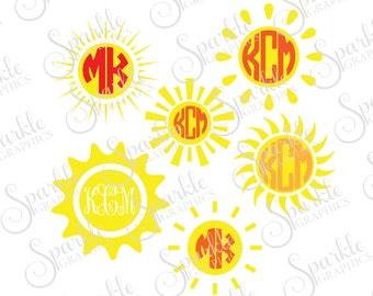 Sun Monogram Cut File Summer SVG Sunshine Sun Monograme Frame Spring Clipart Svg Dxf Eps Png Silhouette Cricut Cut File Commercial Use
