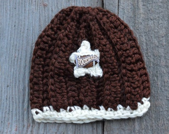 Crochet preemie boys hat, preemie winter football crochet hat
