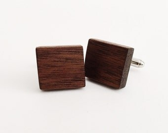 Walnut Wood Cufflinks - silver