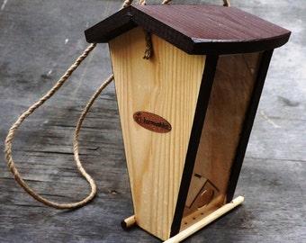 Hanging Bird Feeder, Wood Bird Feeder, Natural Weathered Wood