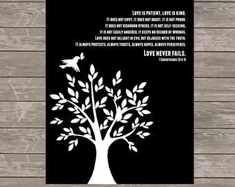 WEDDING GIFT-Love Never Fails Print-1 Corinthians 13:4-8  Anniversary Gift-Wall Decor-Housewarming Gift - Wall Art