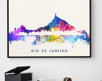 Rio de Janeiro Skyline, Rio de Janeiro Print, Watercolor Print, Rio Poster, Rio Wall Art Decor, Brazil Gift, Rio Bedroom Decor (N127)