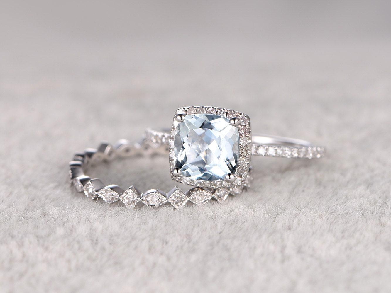 2pcs blue aquamarine wedding ring set engagement ringdiamond. Black Bedroom Furniture Sets. Home Design Ideas