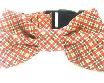 Red Dog Collar - Bow Tie Dog Collar - Dog Collar - Bright Dog Collar - Adjustable Collar - Handmade Dog Collar - Small Dog - Dog Bandana