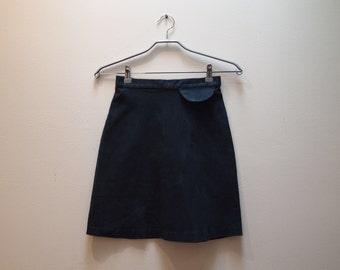 90s A-line navy denim mini-skirt