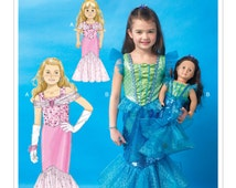 "Sewing Pattern for Children's/Girls'/18"" Dolls' Matching Mermaid Costumes, Girls 3-8,McCalls Pattern 7175, Halloween Costume,Mermaid Costume"