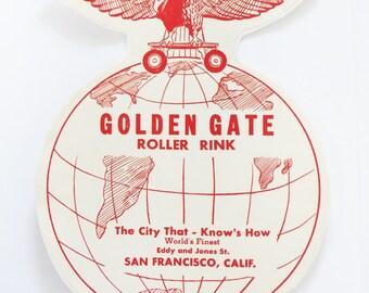 1940s 50s GOLDEN GATE Roller Rink San Francisco Decal Original Large Size