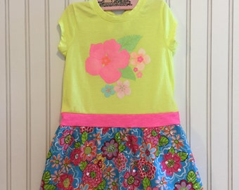 vibrant flower dress size 4T