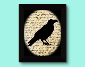 Crow on Script Print