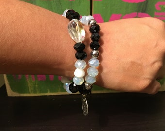 Black and White czech crystal with coin charm bracelet set