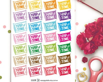 Nap Time Planner Stickers | Erin Condren | Kikki K | Filofax |  Pillow | Sleep In | Break Time