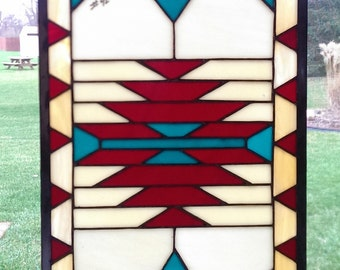 Hanging Glass Window Panel; Red, turuoise and white southwestern stained glass; custom-made stained glass panel