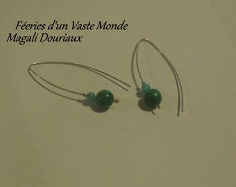 Chrysocolla and amazonite earrings
