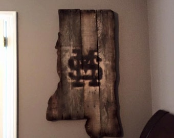 Mississippi State Reclaimed Wood Sign