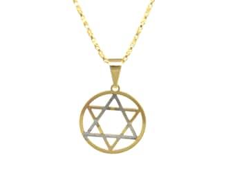 Tri-Color Star of David Necklace/14K Gold Filled/Gold Necklace