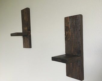 Candle wall sconces-Rustic candle wall hanging sconces- Farmhouse wall sconces- Wooden candle sconces-Handmade wood sconces