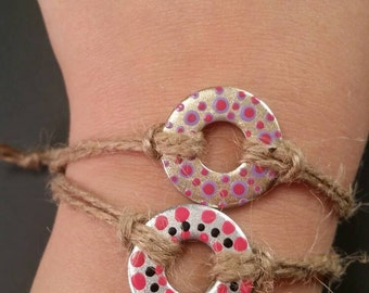 Polka dotted hand painted friendship bracelet
