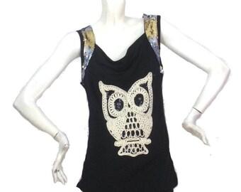 Black tee shirt Kustom 4U owl Chest Size 40 Morgan