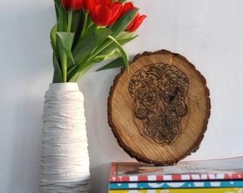 Sugar Skull Wood Burning on wooden slice