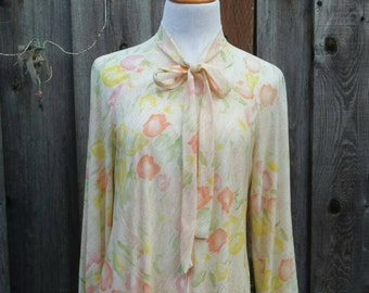 Vintage Floral Long Sleeve House Dress - 70s