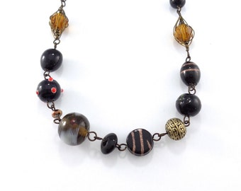 Lampwork beads long necklace