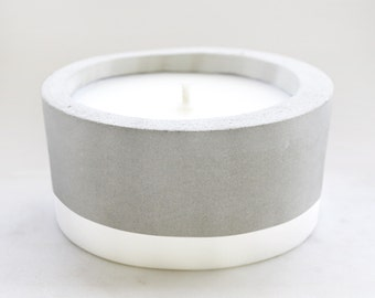 Large white painted Concrete - Scented Soy Wax Candle *choose your fragrance
