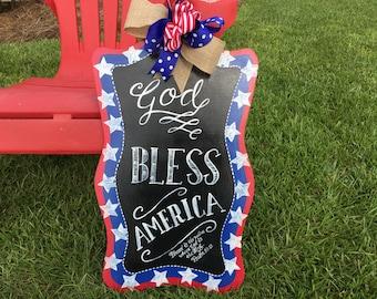 Patriotic door hanger, sale, wooden patriotic hanger, 4th of July, Memorial Day, veteran decor, military appreciation, sale
