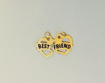 """14 Karat Yellow Gold """"Best Friend"""" Two Hearts Charm BF must break apart each half to be friends forever"""