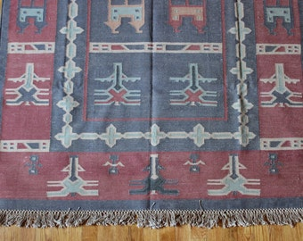 Indian Dhurrie Rug 4x6 Bohemian Vibrant Full Patterned Rustic Vintage Earthy Double Sided Area Rug Flatweave
