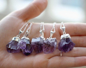 """Silver Plated Amethyst Point Pendant w/ 18"""" Chain"""