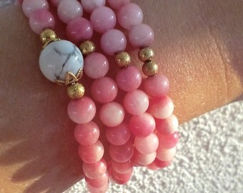 Rose Jade Bracelet, Four Wraps Bracelet