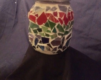 Rainbow Colored Mosaic Mason Jar