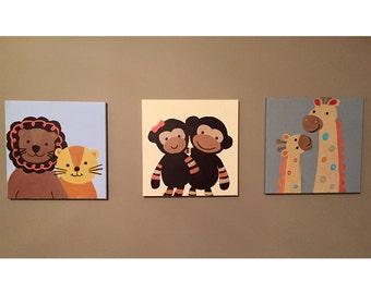 Custom Handmade Nursery Wall Art *Set of 3 canvases*